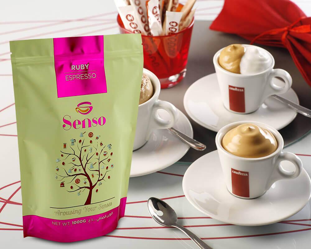 embalagem de café senso