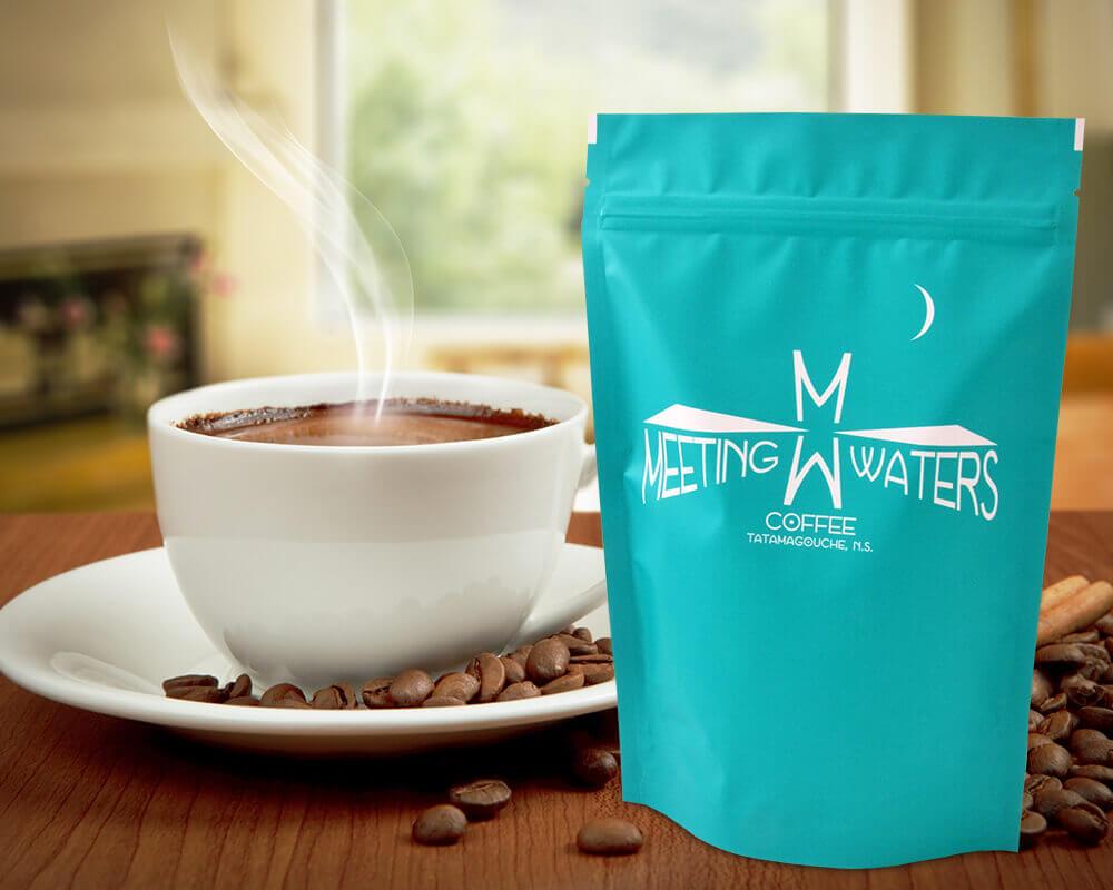 Embalagem de café de águas de encontro